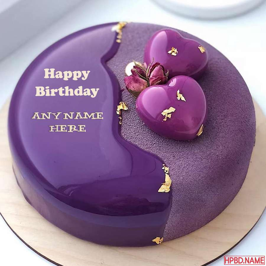 Creative And Designer Purple Birthday Cakes With Name Edit