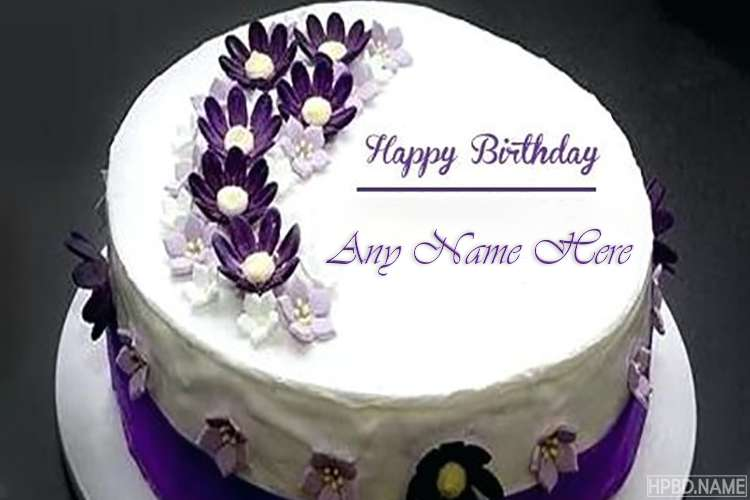 Happy Birthday Delicious Purple Flower Cake With Name Online