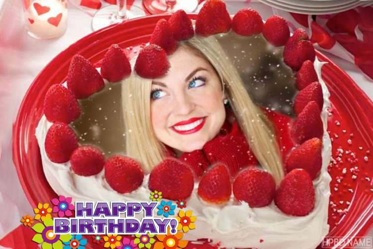 Yummy Strawberry Birthday Cake With Your Photos