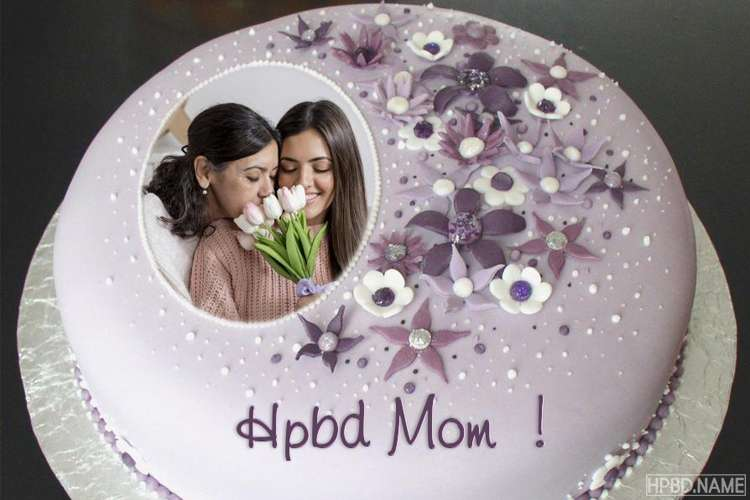 Purple Birthday Cake for Mom With Name And Photo