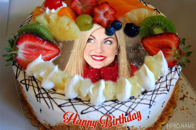 White Fruit Cake for Birthday With Name Edit