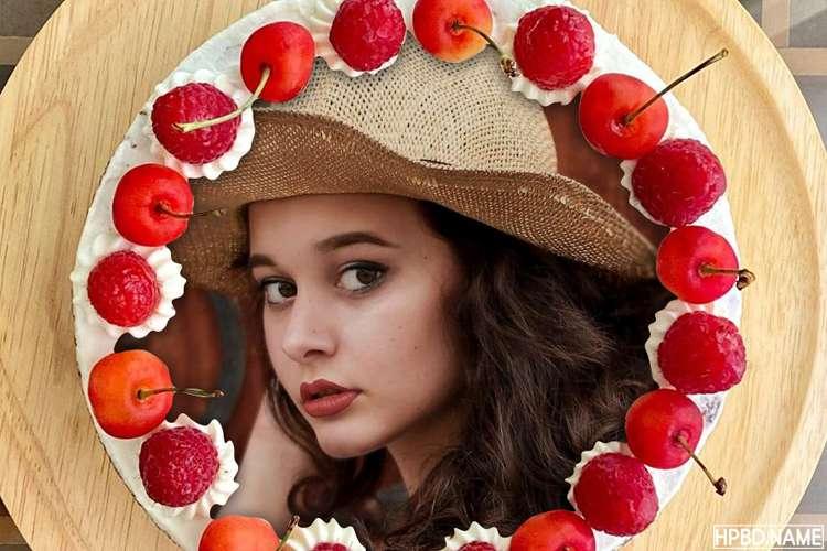 Happy Birthday Fruit Cherry Cake With Your Photo