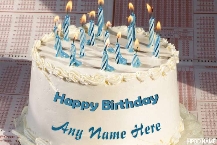 Happy Birthday Blue Candle Cake With Your Name