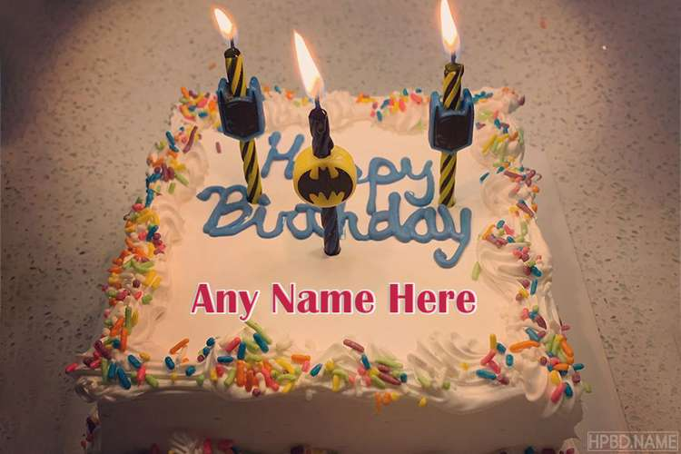 Batman Decorated Birthday Name Cake With Candles