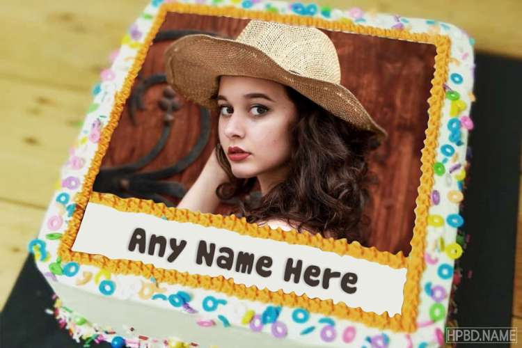 Name and Photo on Lovely Decorated Vanilla Birthday Cake