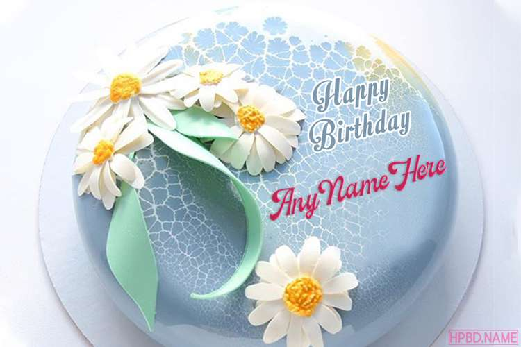 Blue Flowers Butter Cream Cake With Friend Name