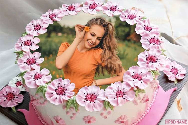 Cherry Blossom Birthday Cake With Photo Frames