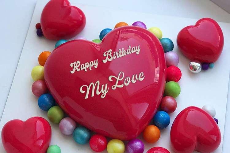 Beautiful Red Heart Name Birthday Cake Online