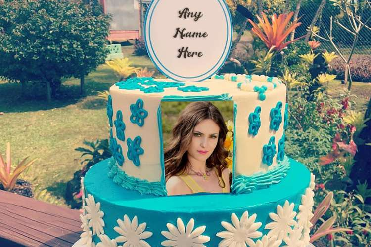 Double Layer Flower Birthday Cake With Name And Photo