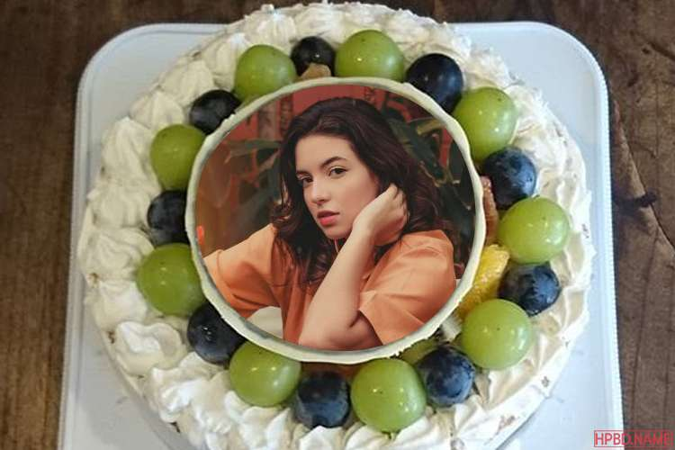 Elegant White Fruit Cake For Birthday Wishes With Photo Frames
