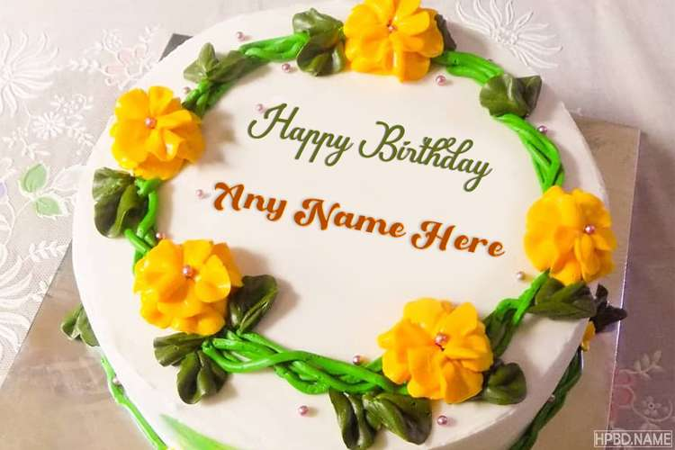 Yellow Color Flower Birthday Cake With Name Edit