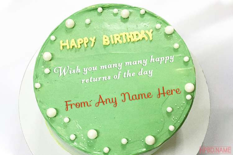 Green Birthday Wishes Cake With Name Generator