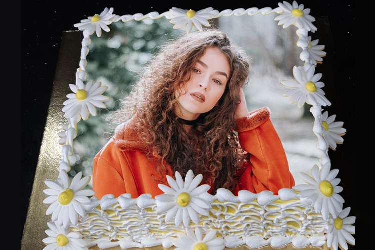 Print Photo On White Floral Birthday Cake With Name
