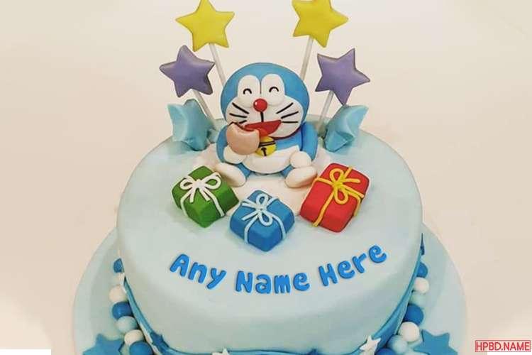 Doraemon Cartoon Happy Birthday Cake For Kids With Name
