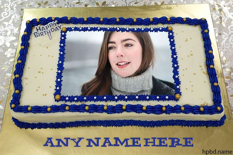 Blue Birthday Cake Rectangle With Name And Photo