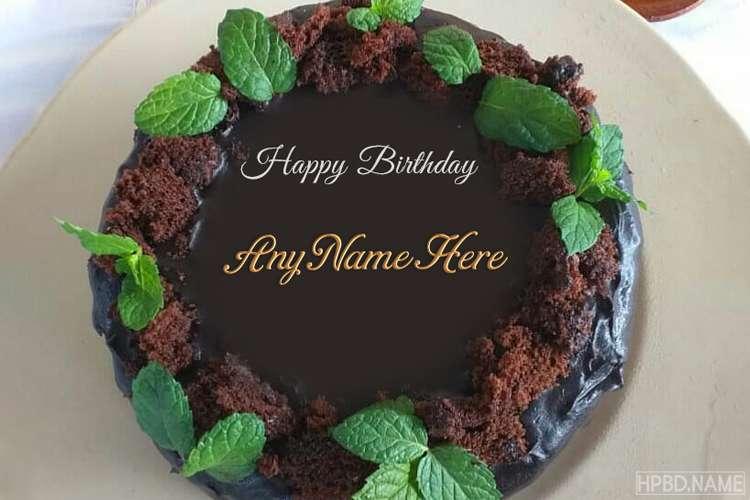Yummy Dark Chocolate Birthday Cake With Name Online