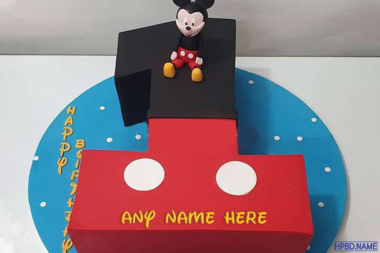 1st Mickey Mouse Birhday Wishes Cake With Name Edit
