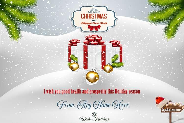 Write Name On Merry Christmas Greeting Card