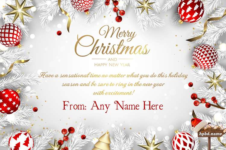 Merry Christmas And New Year Card With Name Edit