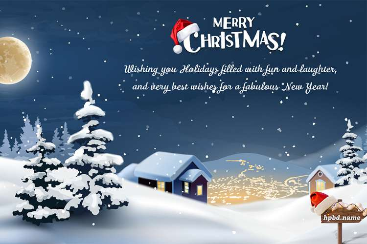 Merry Christmas Wish Card With Wishes and Your Name