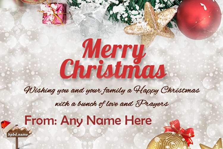 Online Name Writing For Merry Christmas Greetings Card