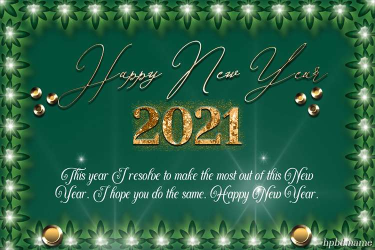 Gold And Green 2021 Happy New Year Greeting Card