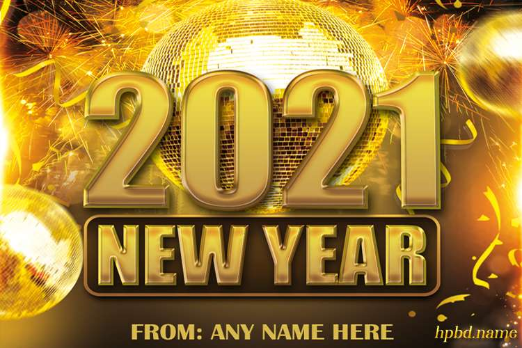 Golden Happy New Year 2021 Wishes Card With Name