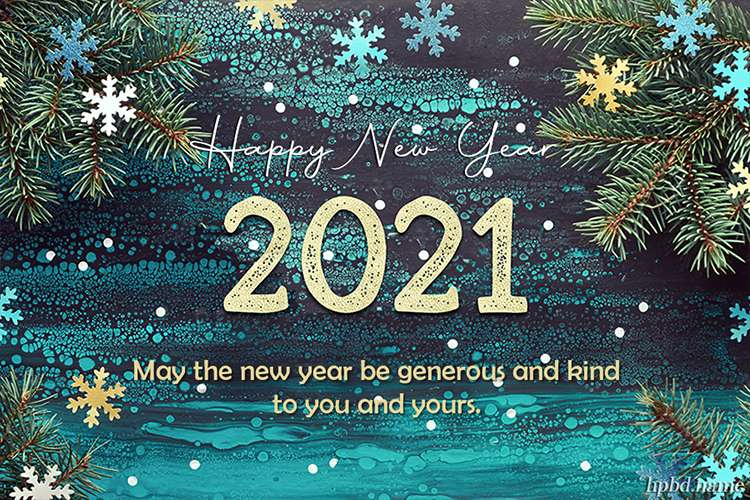 Happy New Year 2021 With Snowflakes