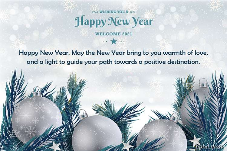 Happy New Year 2021 Card With Silver Ball Background
