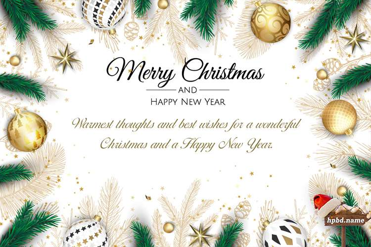 Merry Christmas And New Year Wishes Card Maker Online