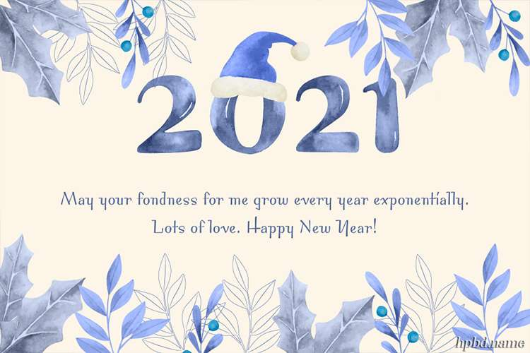 Customize Watercolor New Year Greeting Card 2021