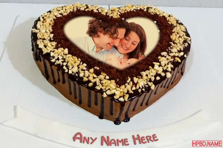 Romantic Chocolate Heart Birthday Wishes Cake With Name And Photo