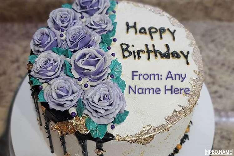 Elegant Purple Birthday Cake With Name