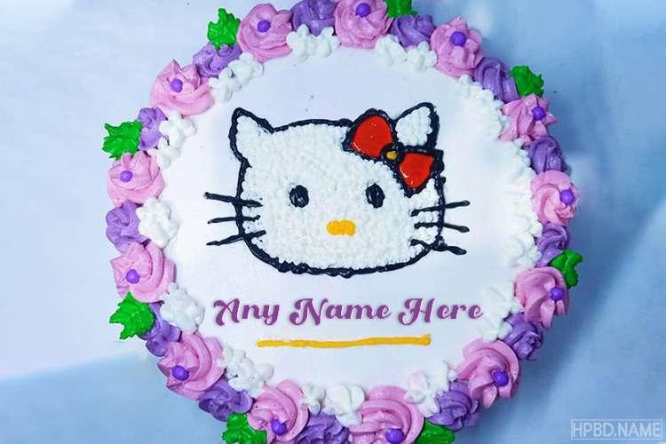 Write Name On Happy Hello Kitty Birthday Cake For Kids