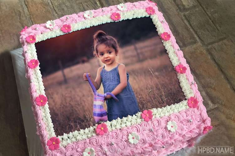 Lovely Flowers Birthday Wishes Cake With Photo Edit