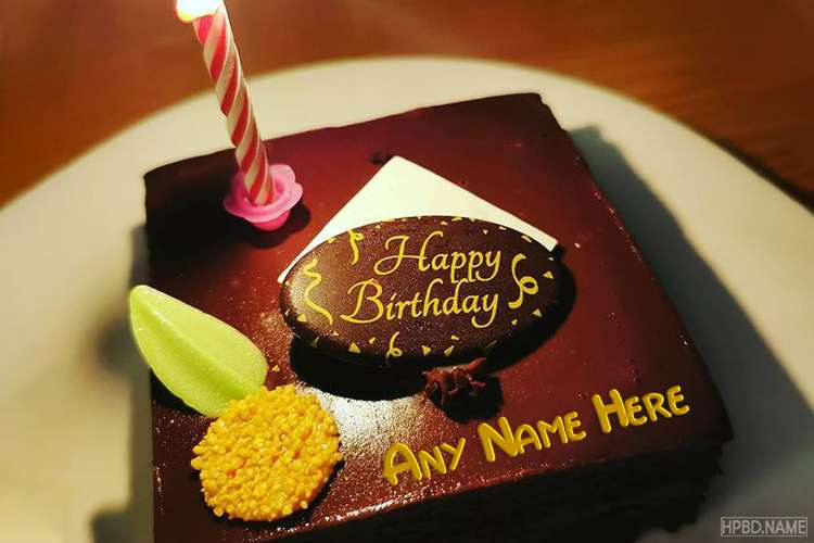 Simple Chocolate Candle Birthday Cake With Photo