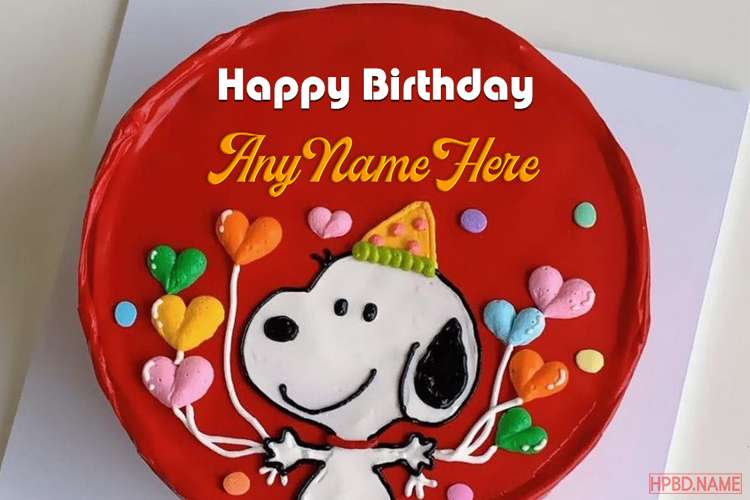 Funny Snoopy Birthday Wishes Cake With Name Edit