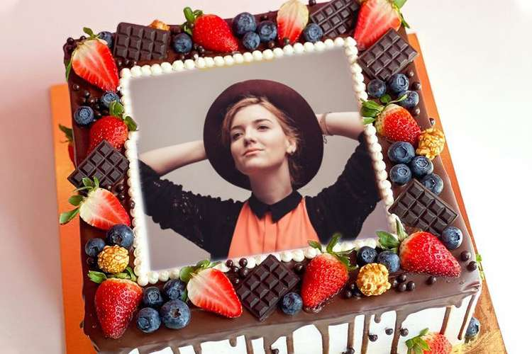 Chocolate And Fruit Birthday Cake With Photo Frames