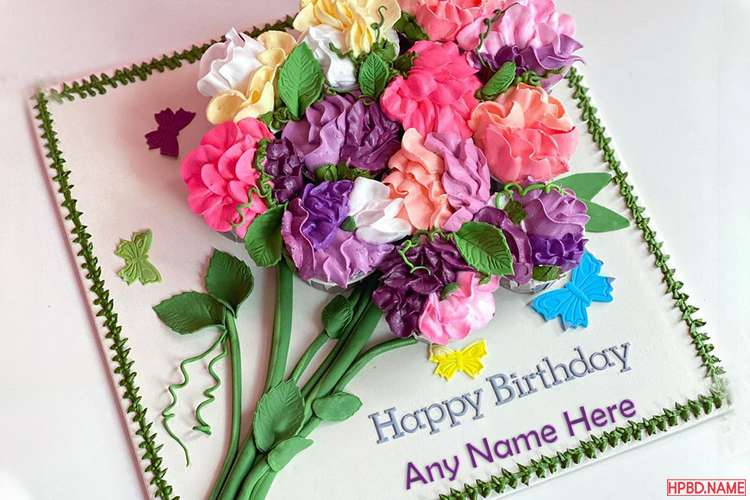 Colorful Floral Birthday Cake With Name For Mother
