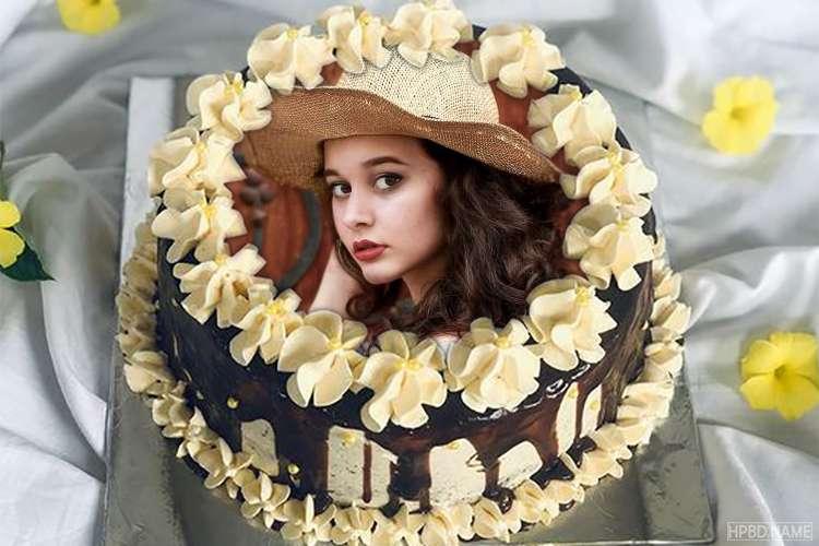 Chocolate Cream Birthday Wishes Cake With Photo Editing