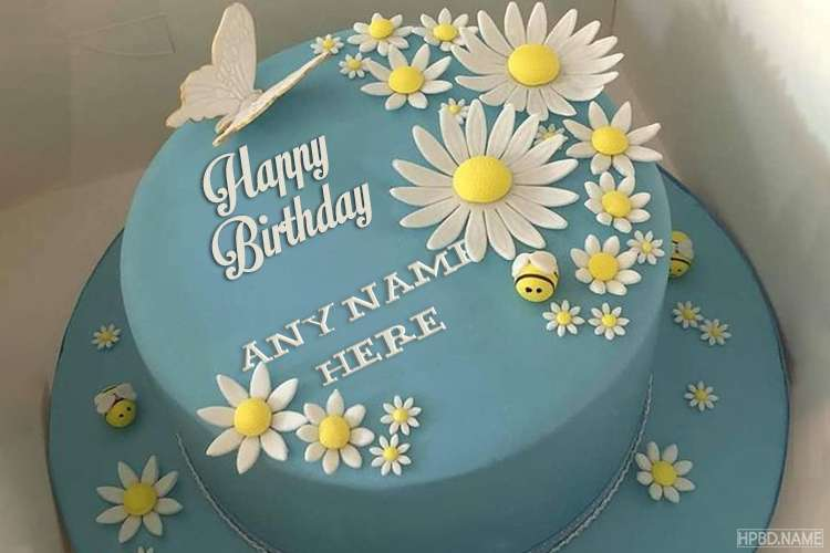 White Chrysanthemum Birthday Cake With Name Edit
