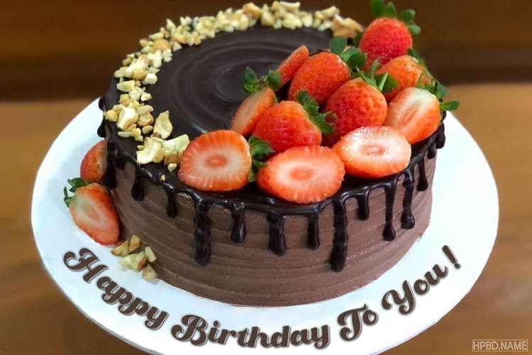 Chocolate Strawberry Birthday Wishes Cake With Name
