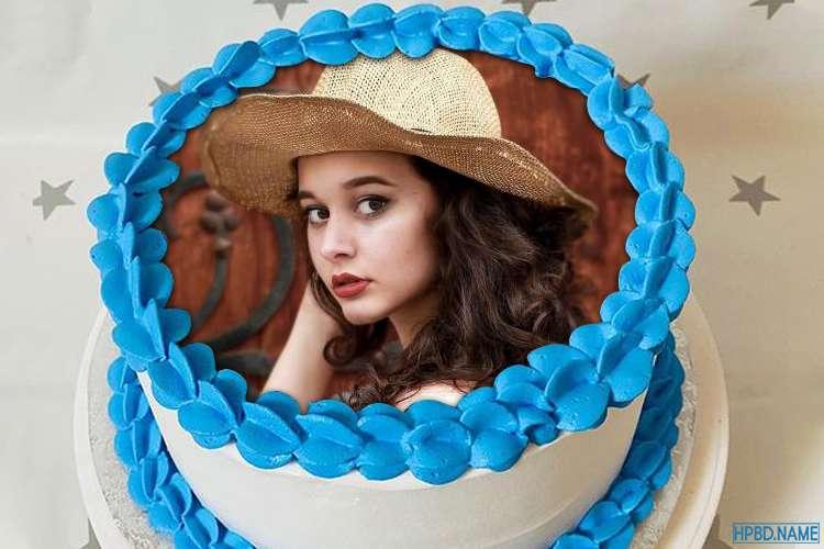 Blue Border Birthday Cake With Photo Editing