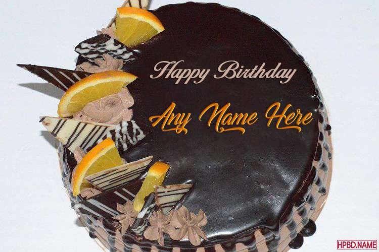Write Your Name On Chocolate Birthday Wishes Cake For Whatsapp