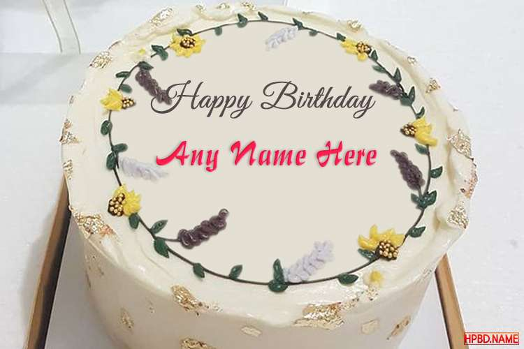 Creative Flower Birthday Wishes Cake With Name Editing