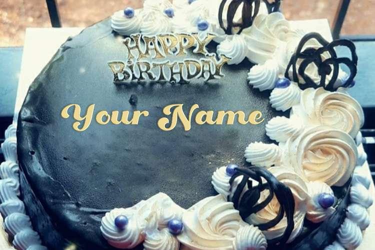 Write Name On Dark Chocolate Birthday Wishes Cake