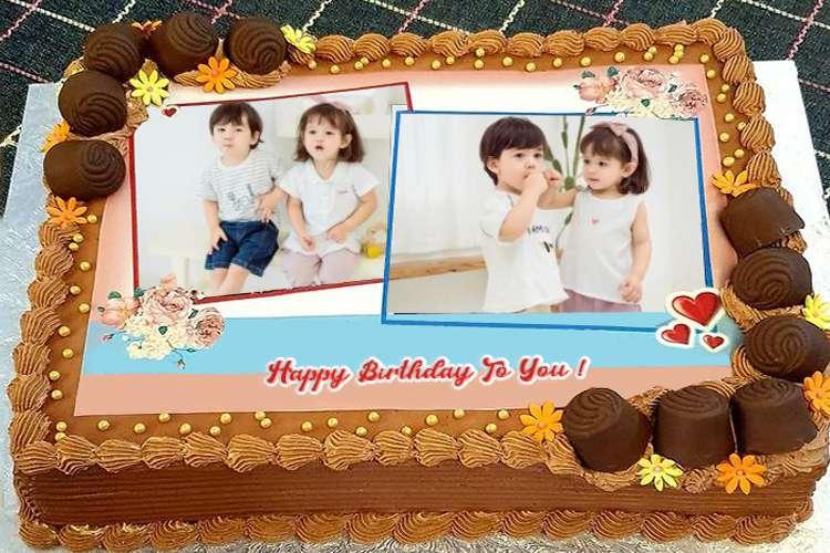 Chocolate Birthday Cake With 2 Photos And Names