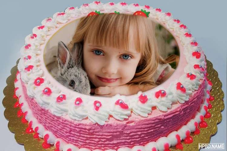 Lovely Pink Border Birthday Cake With Photo Frame