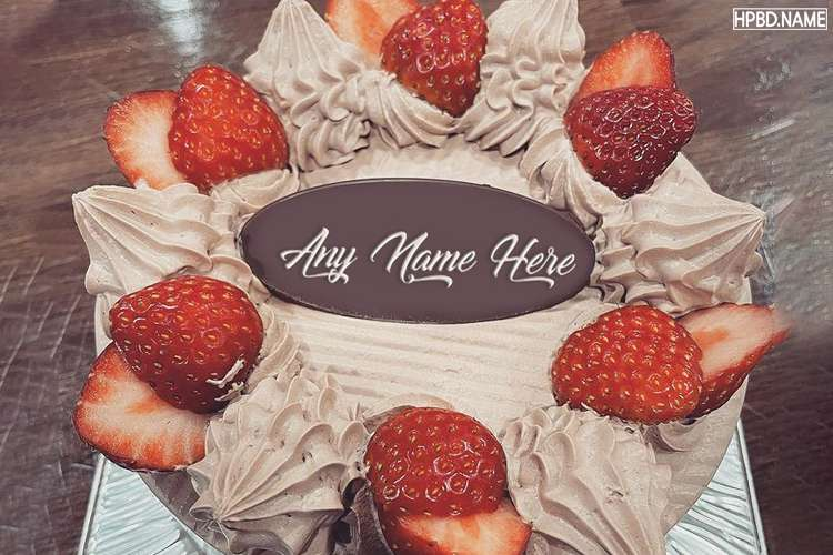 Chocolate Fresh Strawberry Birthday Cake With Name Edit