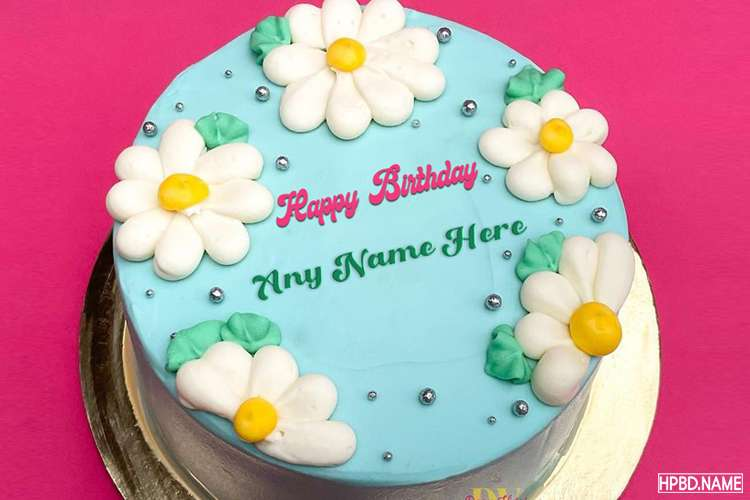 Maker Of Lovely White Floral Birthday Cake With Name